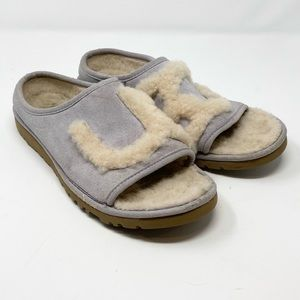 UGG // Shearling Spell-out Open Toe Slippers